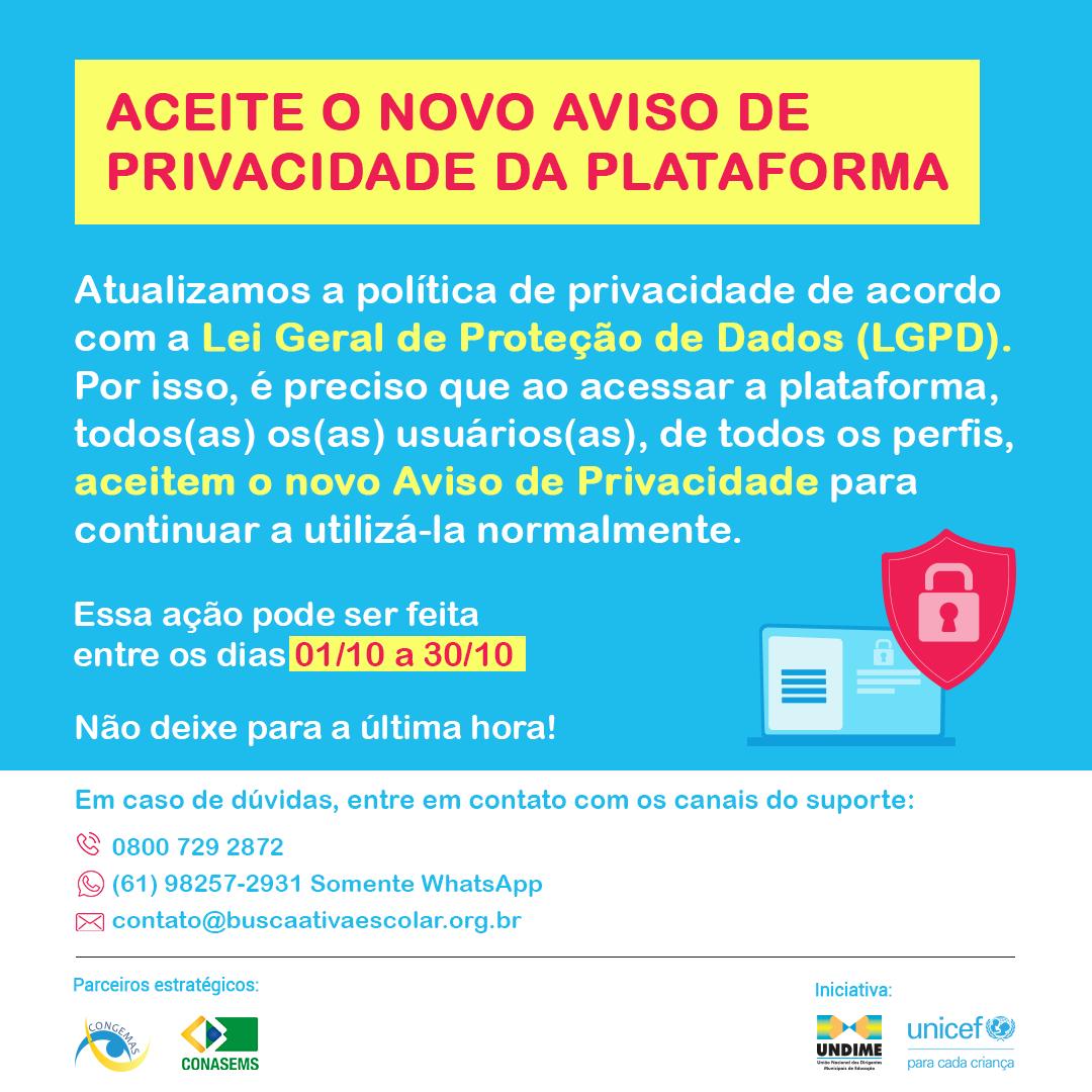 Aviso importante: nova Política de Privacidade da plataforma