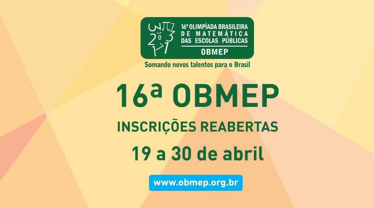 Reabertas as inscrições para a 16ª Olimpíada Brasileira de Matemática das Escolas Públicas
